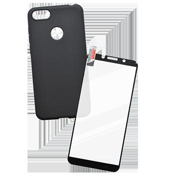 Motorola E6 Play sklo + čierne gumené puzdro