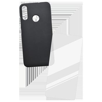 Motorola E6 Plus sklo + čierne gumené puzdro